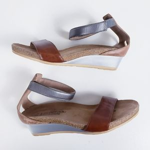 Naot Pixie Wedge Ankle Strap Maple Sandal Size 6